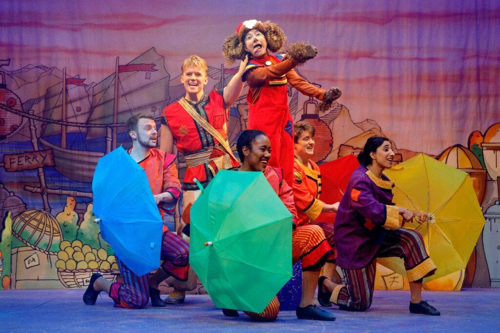 The cast of Aladdin at Corn Exchange Newbury. Photo: Luke MacGregor)